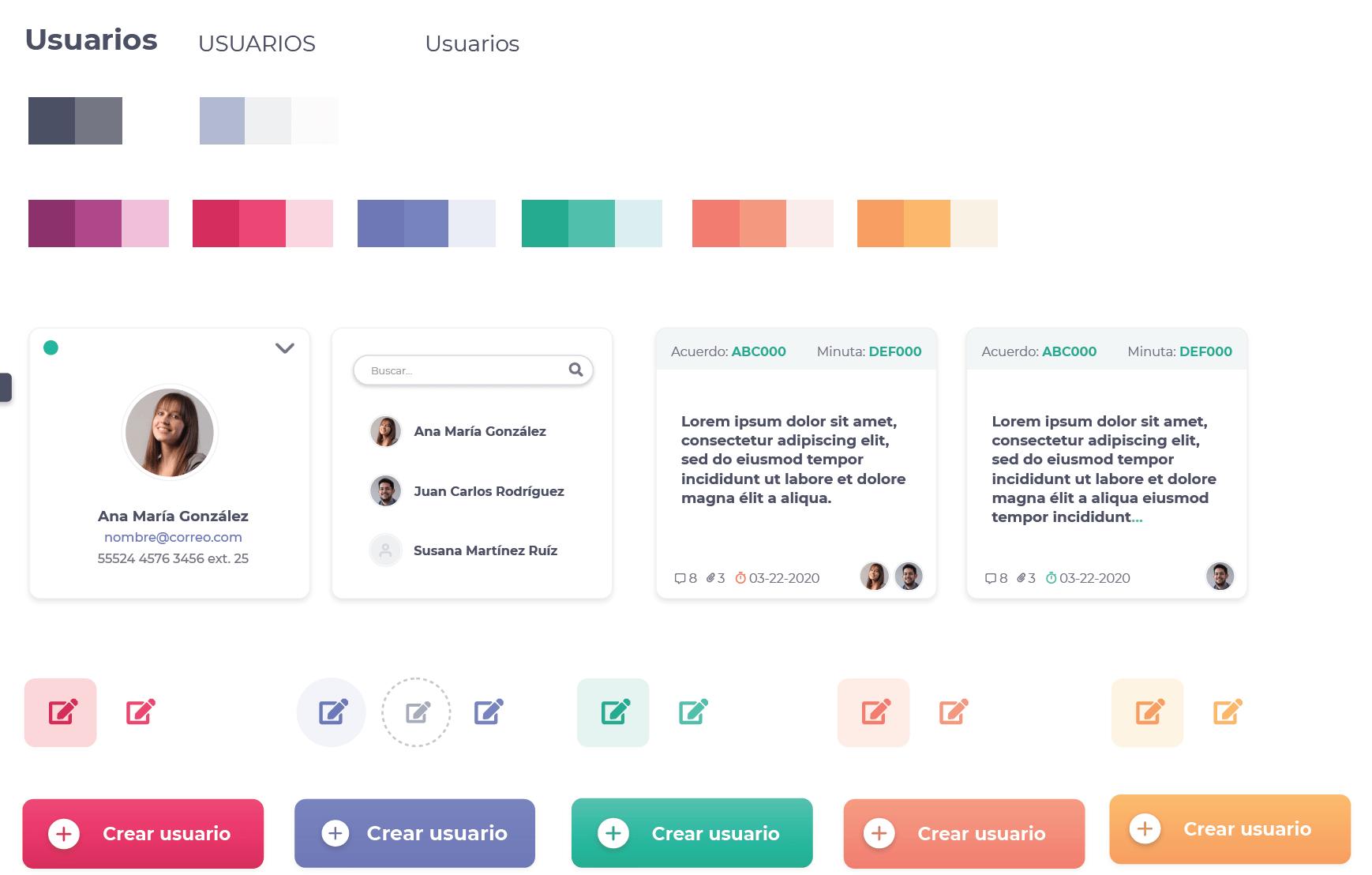 Ejemplo de elementos de UI